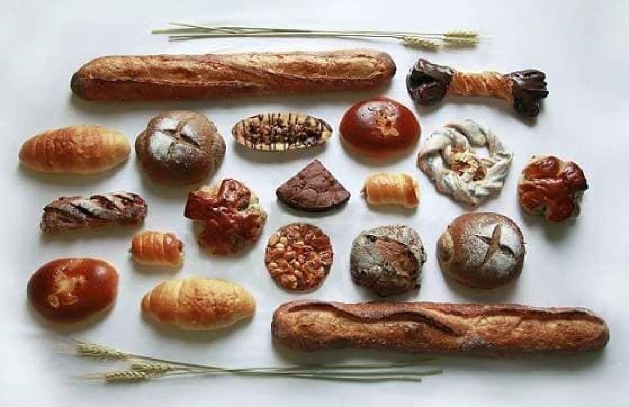 人気の焼きたてパンがずらりと並ぶ