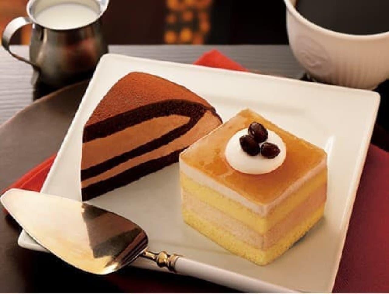 左から「生チョコレートケーキ」「ほうじ茶と黒糖きなこのムースケーキ」