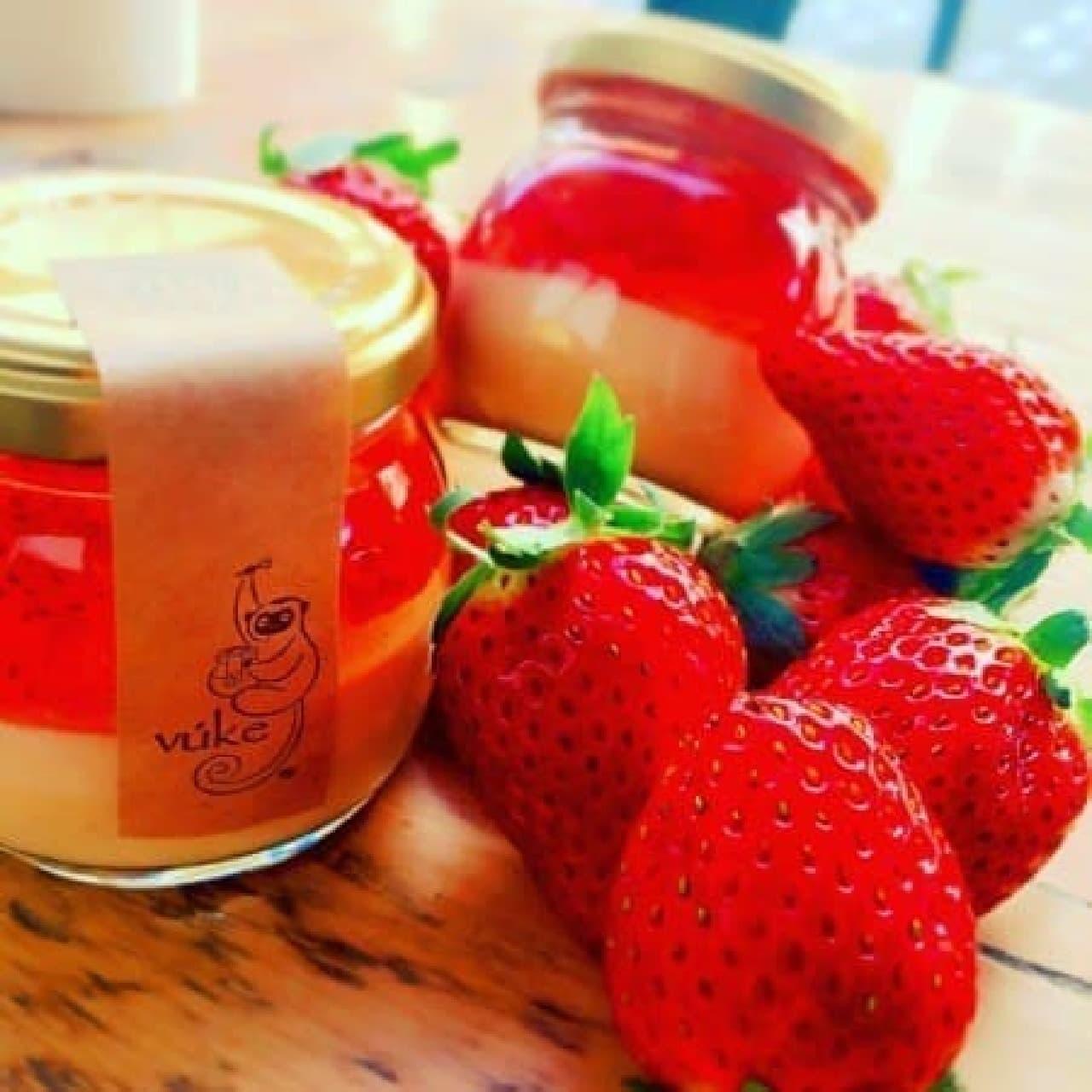 イチゴを存分に味わうプリン