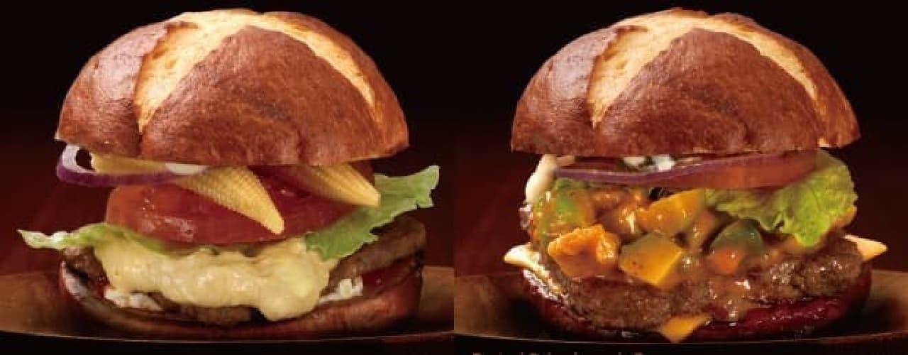 左:プレッツェルコーンクリームチーズバーガー  右:プレッツェルスパイシーアボカドバーガー