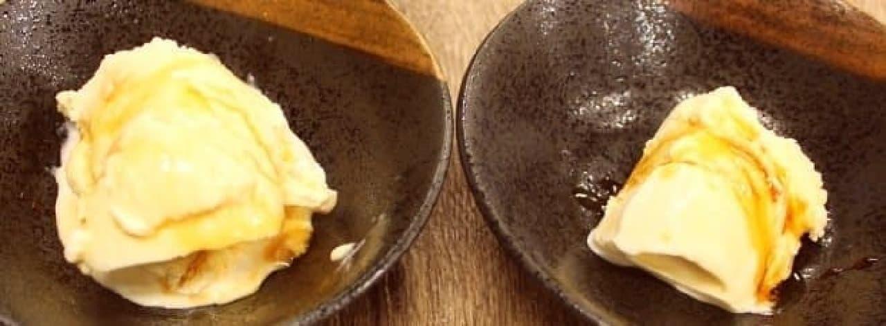 どっちがどっちかわかりません(左がパンかけ醤油だれ、右が黒蜜)