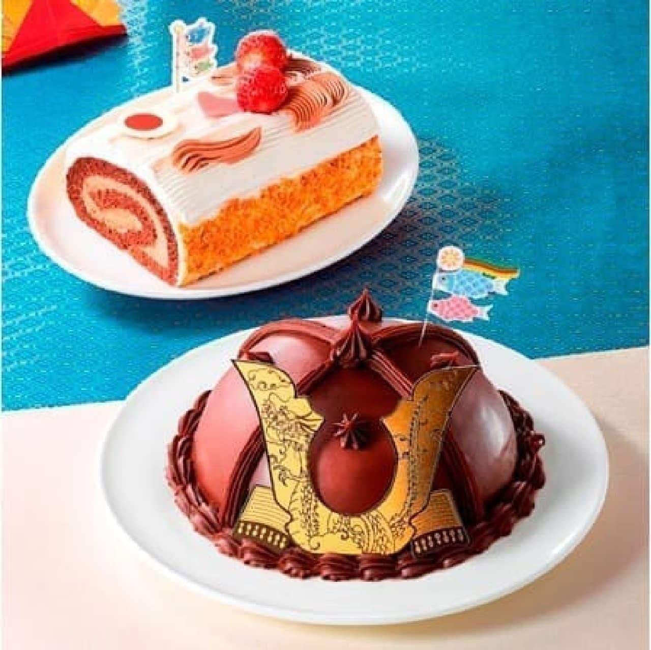 手前から「かぶとケーキ(大)」「そらおよぐ!こいのぼりロールケーキ」
