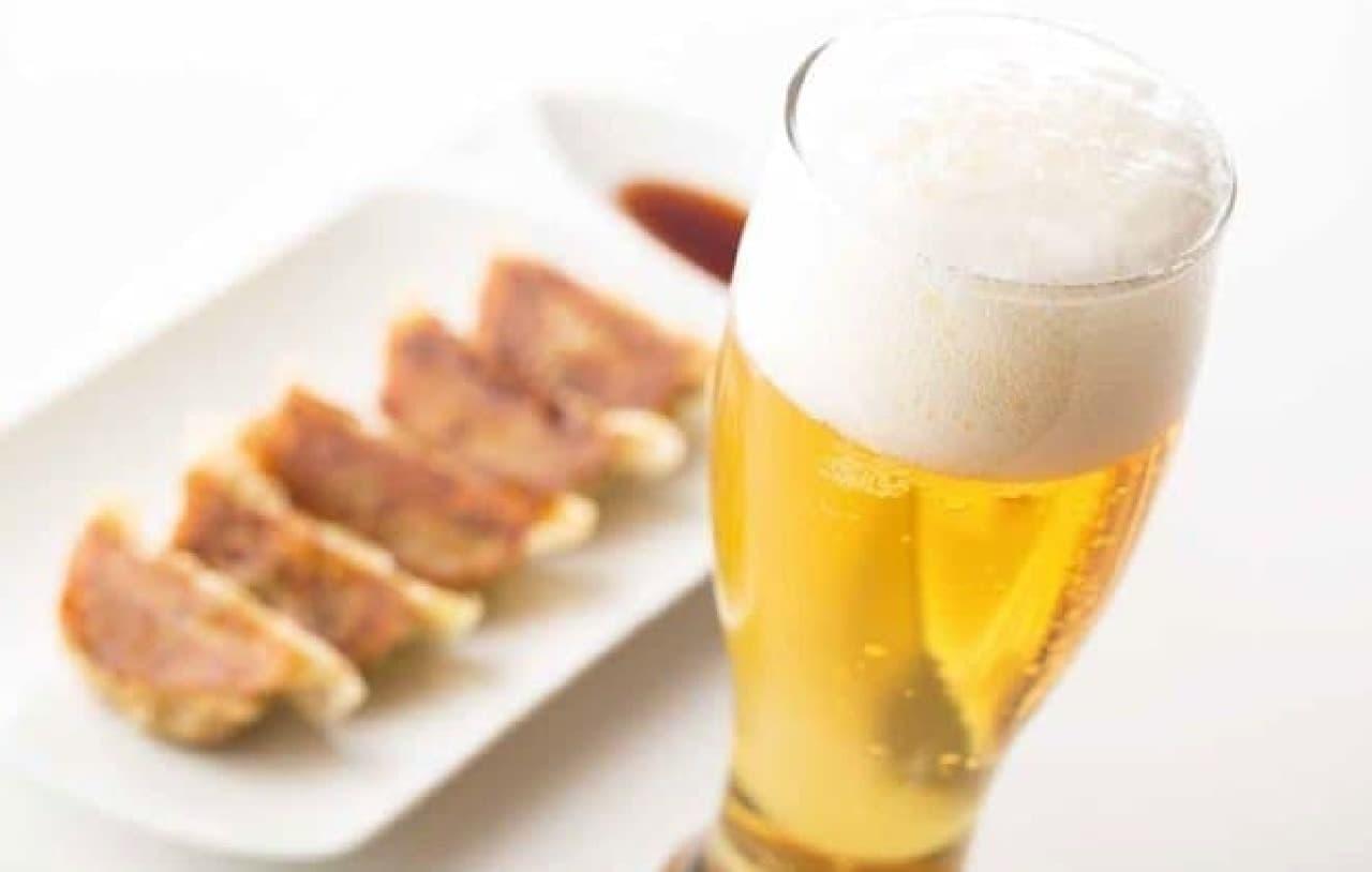 生ビール&ぎょうざ(5個)