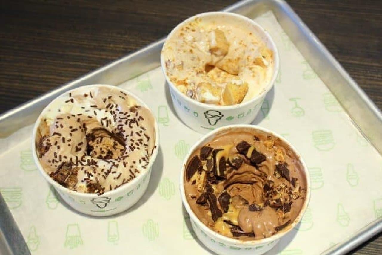 左:サードマン、右:チョコレートピーナッツバター、上:エビーンス