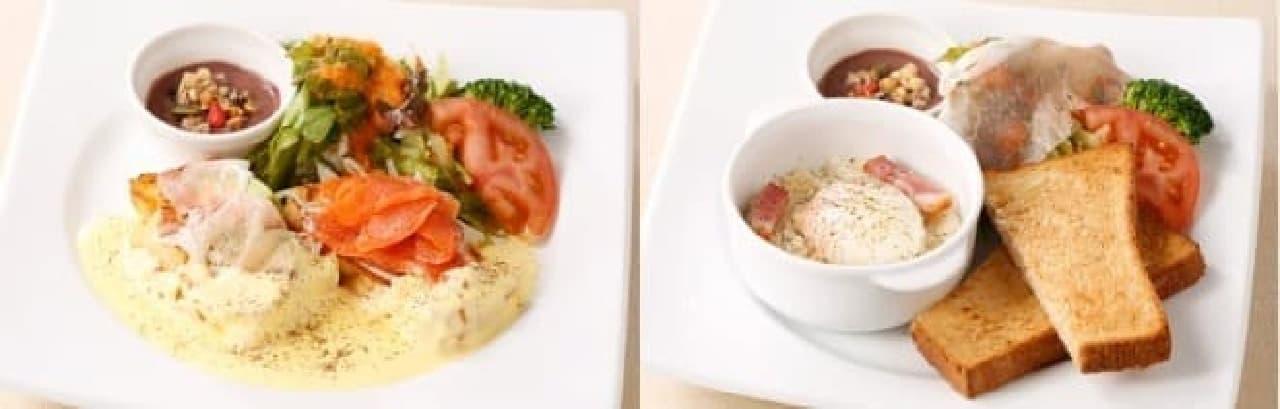 左:フレンチトーストのエッグベネディクト風 右:エッグスラット風モーニング  (出典:デニーズ公式サイト)