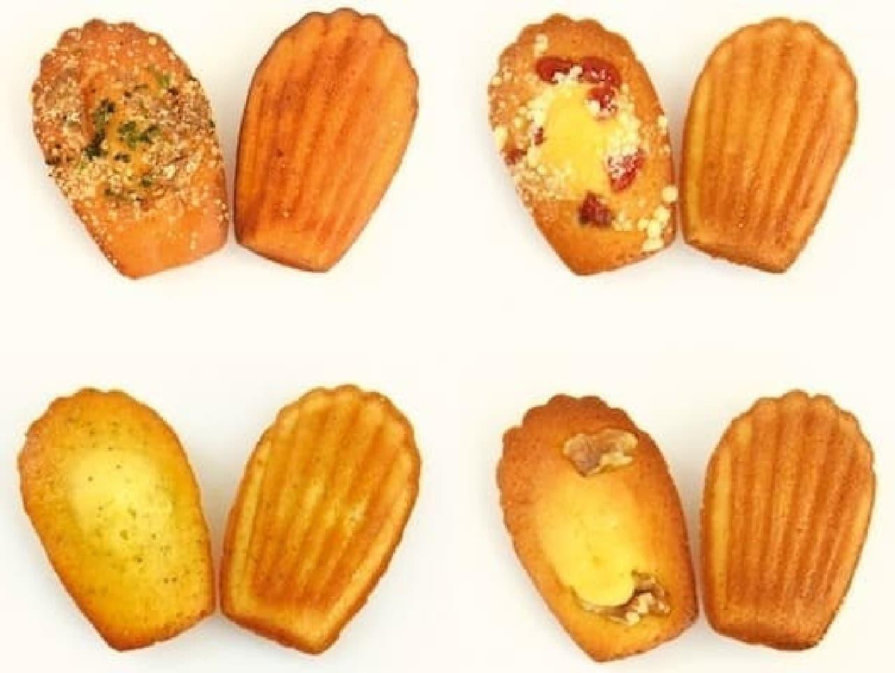 左上からナポリタン、クランベリークランブル、  レモンポピーシード、メープルウォールナッツ