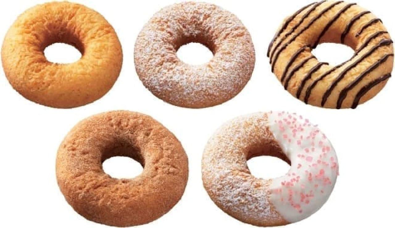 左上から、プレーン、シュガー、チョコ、シナモン、ホワイト