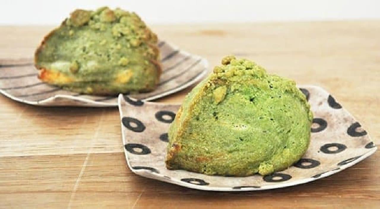鮮やかなグリーンの宇治抹茶スコーン