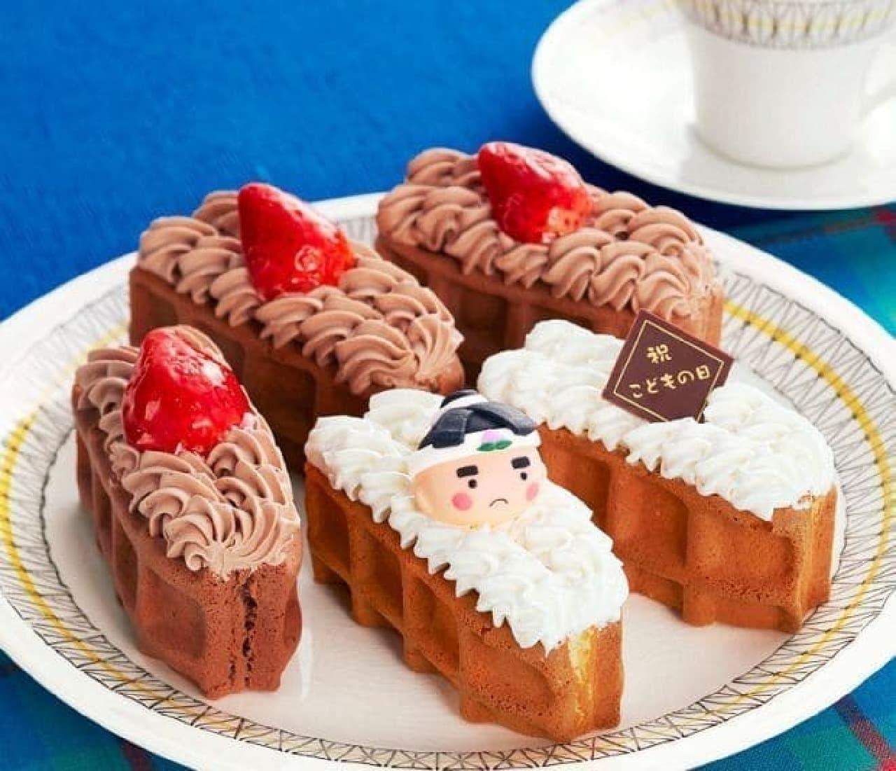 桃太郎の飾りが可愛らしい「こどもの日ワッフルドルチェ」