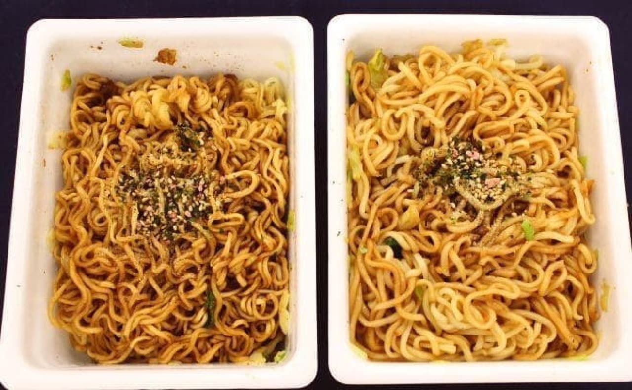 普通に調理したペヨング(左)と重曹を入れたペヨング(右)