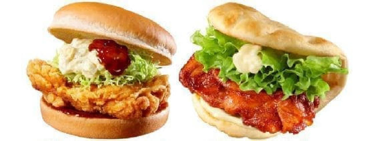 「若鶏のチキン南蛮タルタルバーガー」「タンドリーチキンナンサンド」