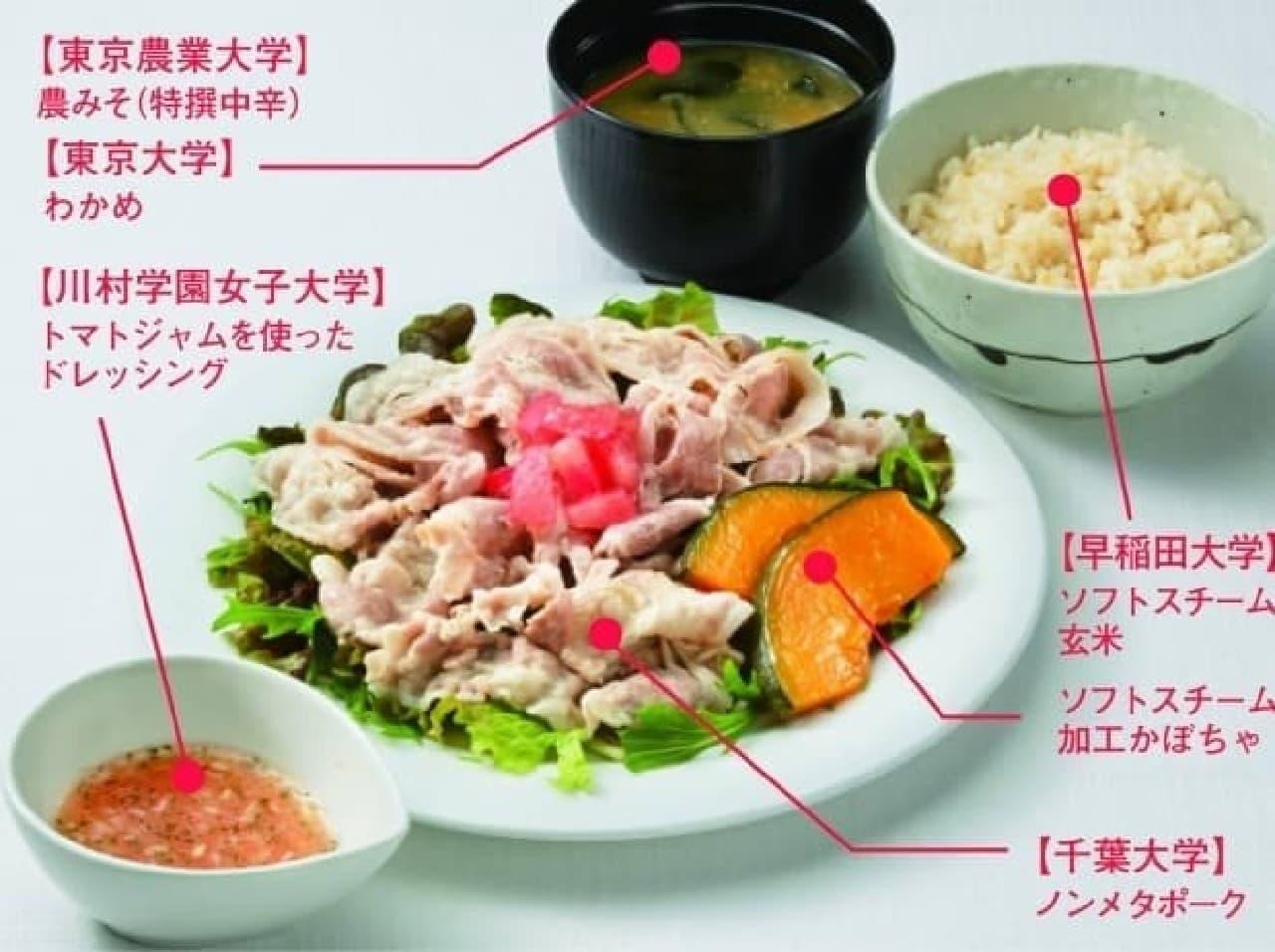 野菜たっぷりの「大学G7定食」