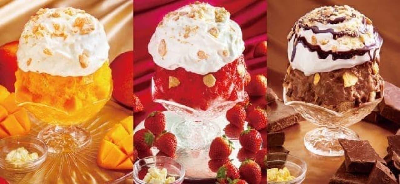 チーズタルトかき氷のいちご、マンゴー、チョコフレーバー
