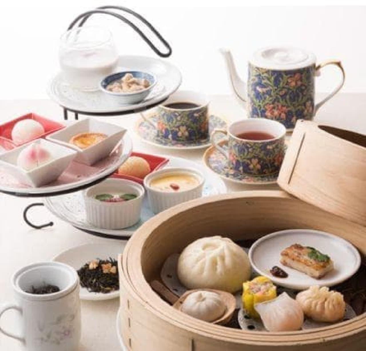 中華スイーツ7種と、点心6種のアフタヌーンティーセット