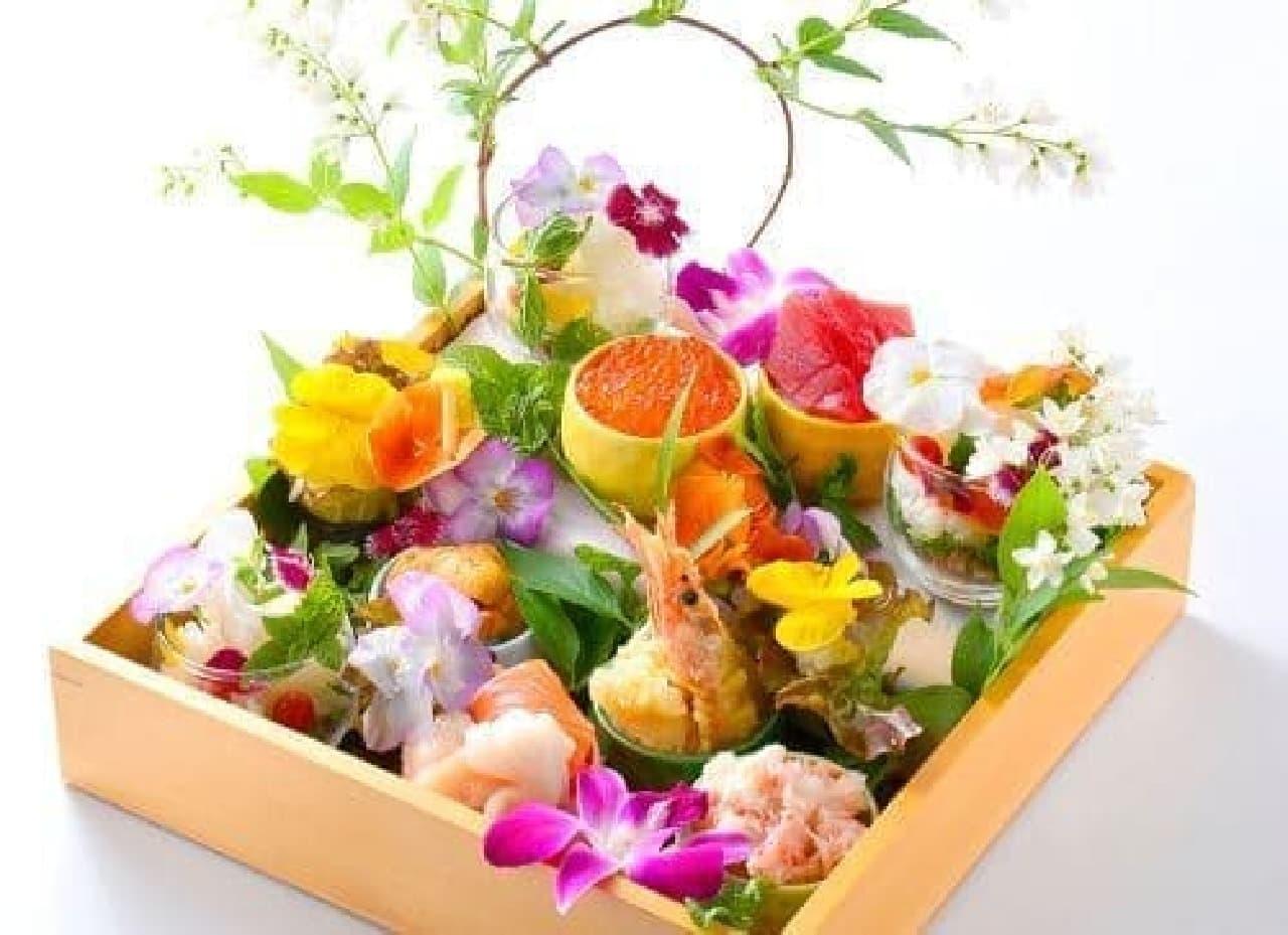 華やかな「花束どんぶり膳」