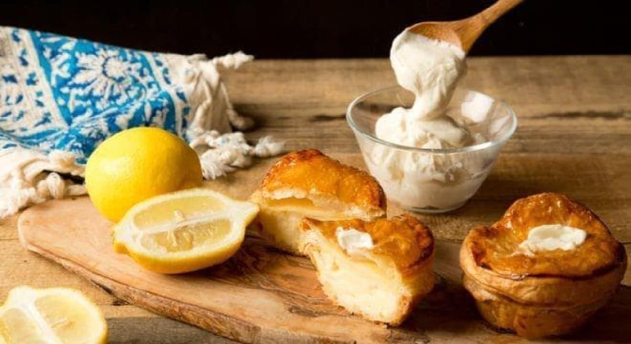 渋谷チーズケーキパイとクリームチーズとレモン