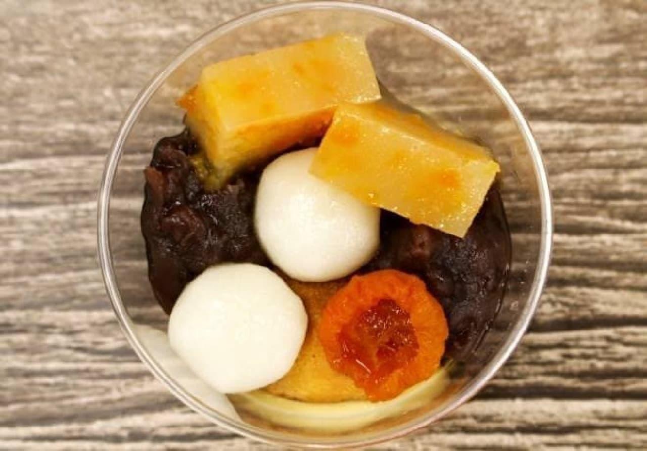自家製杏羊羹と和三盆ムースの和パルフェ
