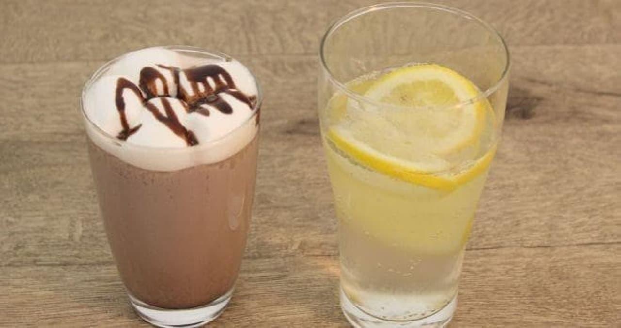 チョコミントドリンクとレモンミントサイダー