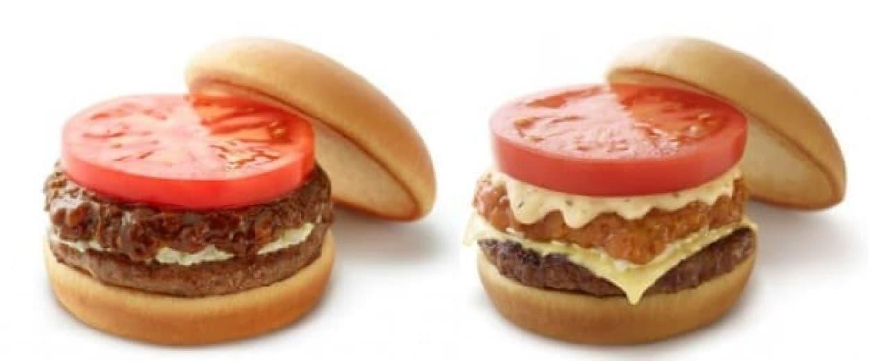 モスバーガー「バーベキューモスバーガー 野菜と果実の特製ソース」「リッチモスチーズバーガー ゴルゴンゾーラチーズソース」