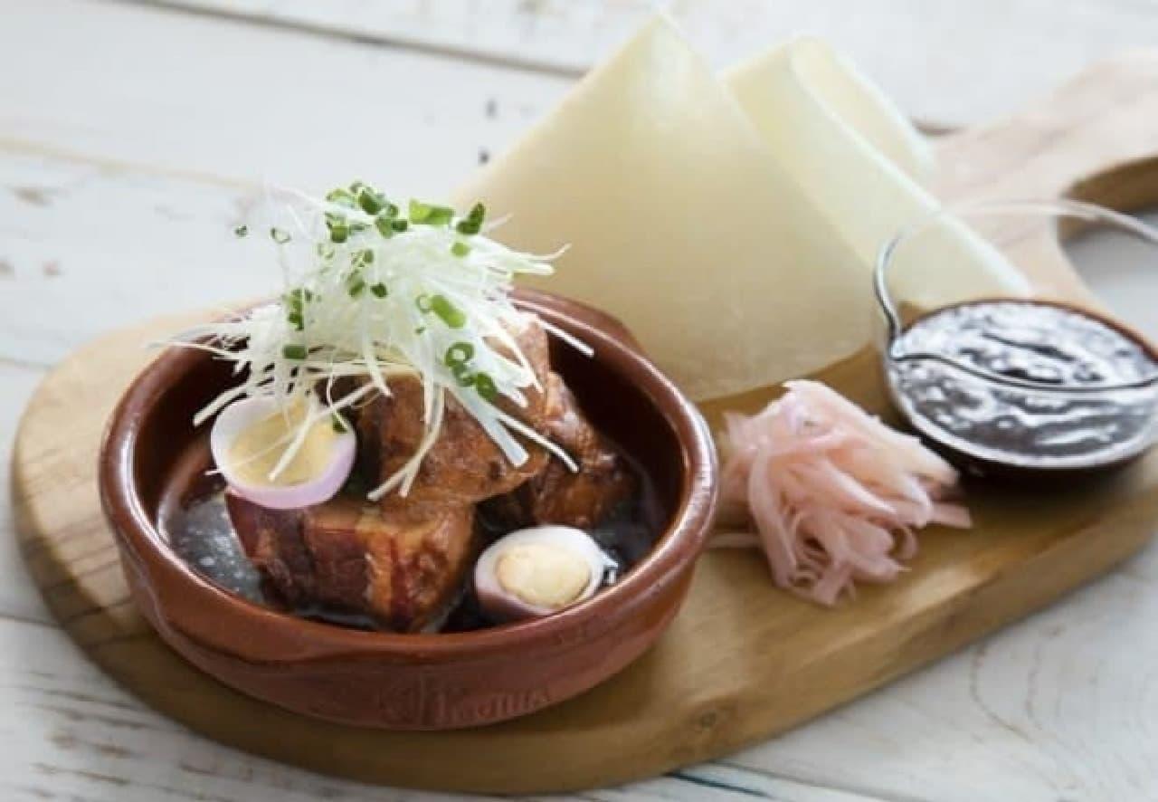 岩下の新生姜ミュージアムCAFE「黒豚バラ肉角煮うずらの卵と岩下漬け添え北京ダック風」