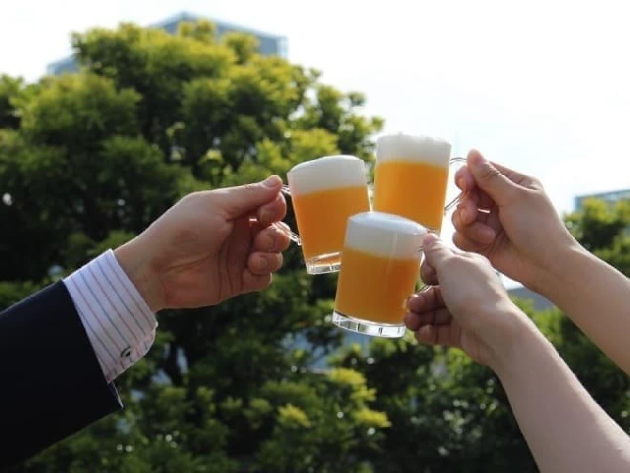 """京橋千疋屋「""""乾杯輪果(かんぱいりんか)""""ビール風ゼリー」"""