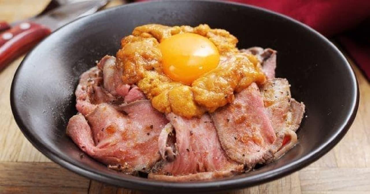 ゴッチーズビーフの「雲丹ローストビーフ丼」