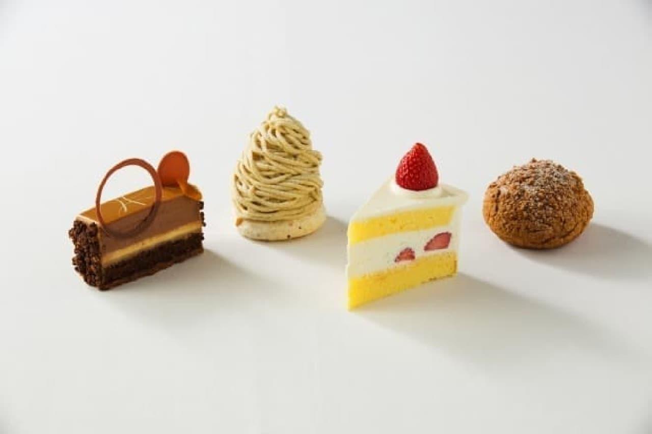 ホテルインターコンチネンタル東京ベイ徳永純司新作、左から、キャラメルショコラオランジュ、モンブラン、ショートケーキ、シューアラクレーム