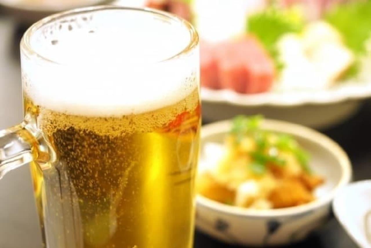 居酒屋でビール(イメージ)