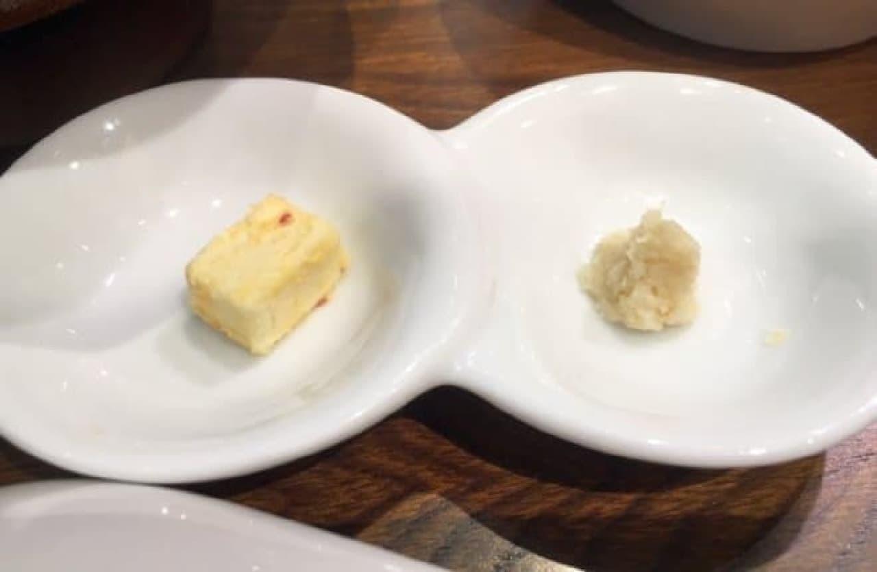 ローストビーフ大野「和牛ローストビーフ丼定食」の薬味