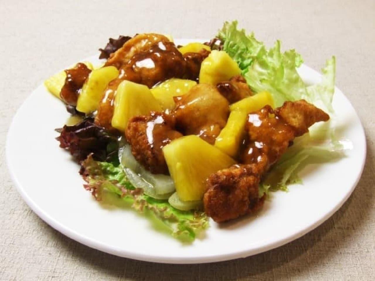 愛知の中華料理店「盛香倫(セイカリン)」の「豚肉の天ぷらとパインの特製酢豚ソース」