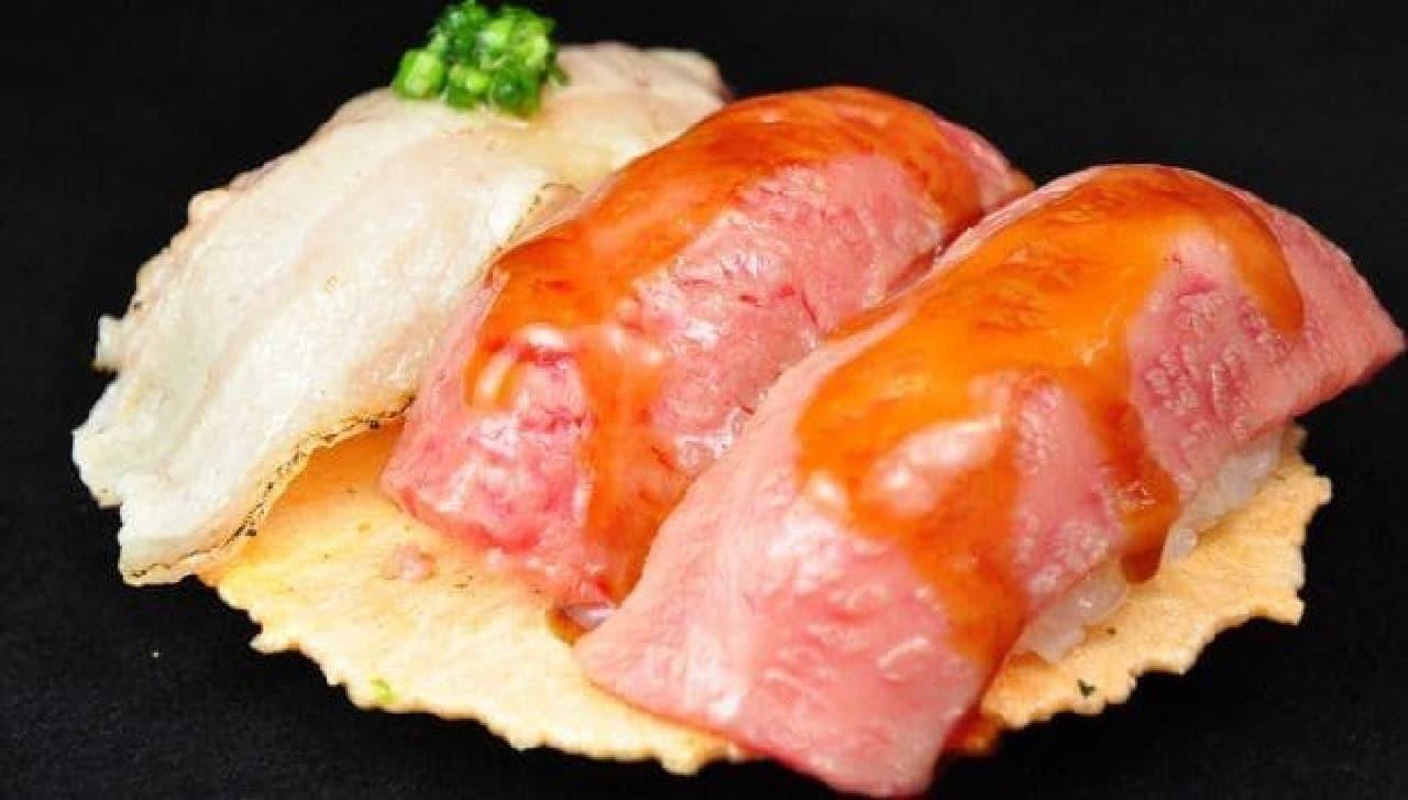 湯島庵「飛騨牛あぶり寿司」