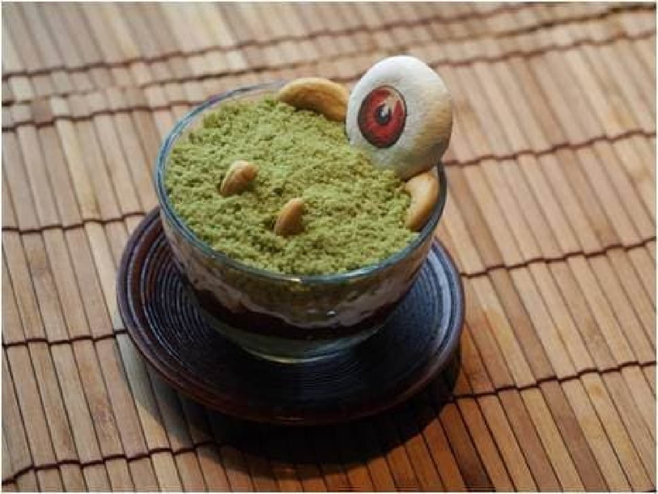 ハンズカフェゲゲゲの鬼太郎コラボメニュー 「目玉おやじ」の抹茶パフェ