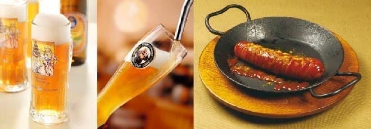 プレミアムビール85円祭の、ホフブロイサマービール、フランツィスカーナヴァイスビア、限定メニュー「オリジナルカリーブルスト」