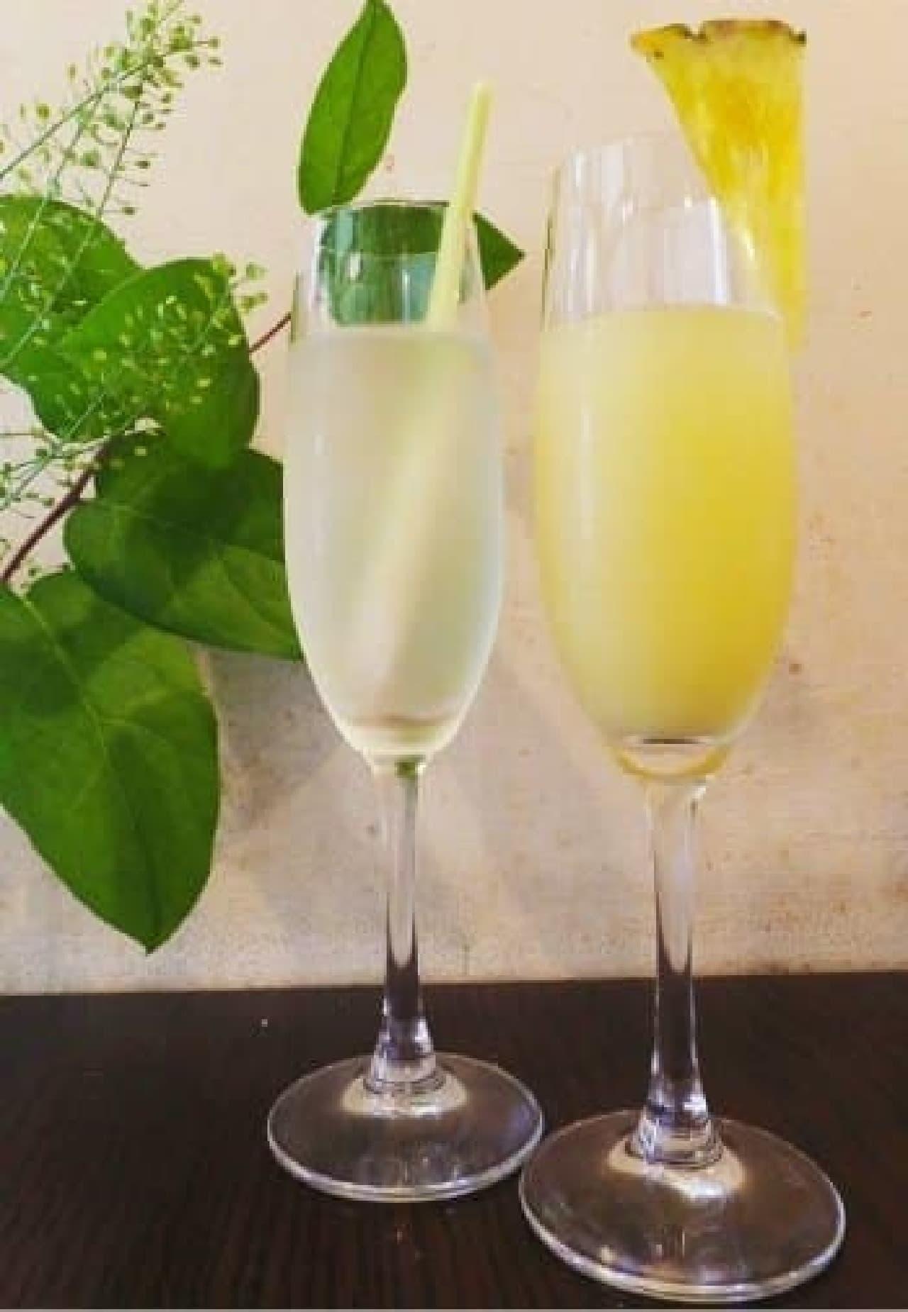 恵比寿 coci(コチ)「レモングラススパークリングカクテル」「パイナップルスパークリングカクテル」