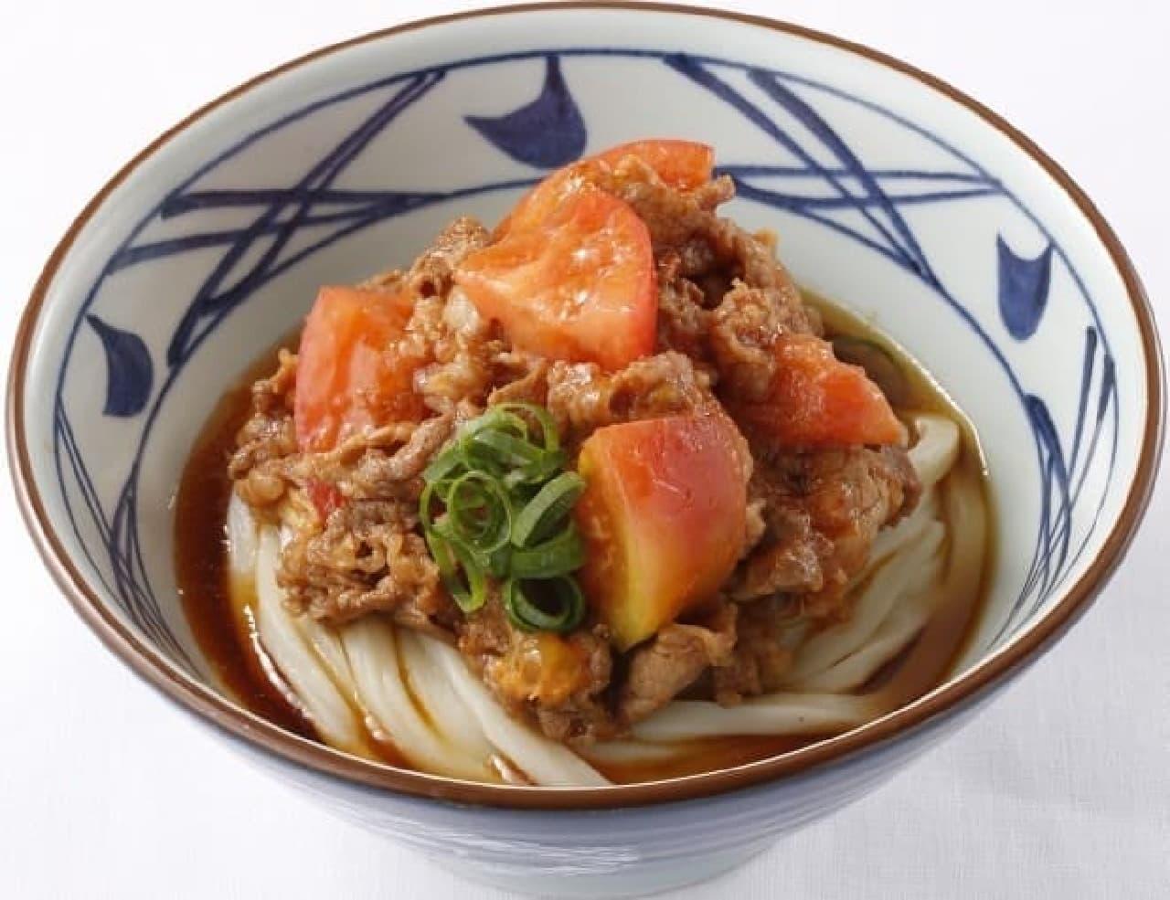 丸亀製麺 岡山インター店「桃太郎トマト焼肉うどん」