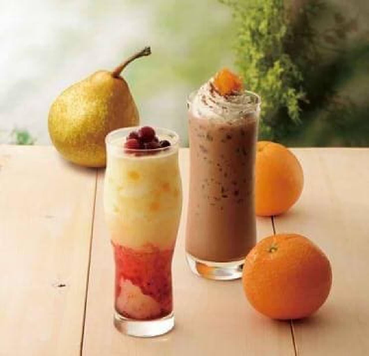 カフェドクリエ「ソルベージュ 洋梨とリンゴ」「アイスココアオランジェ」