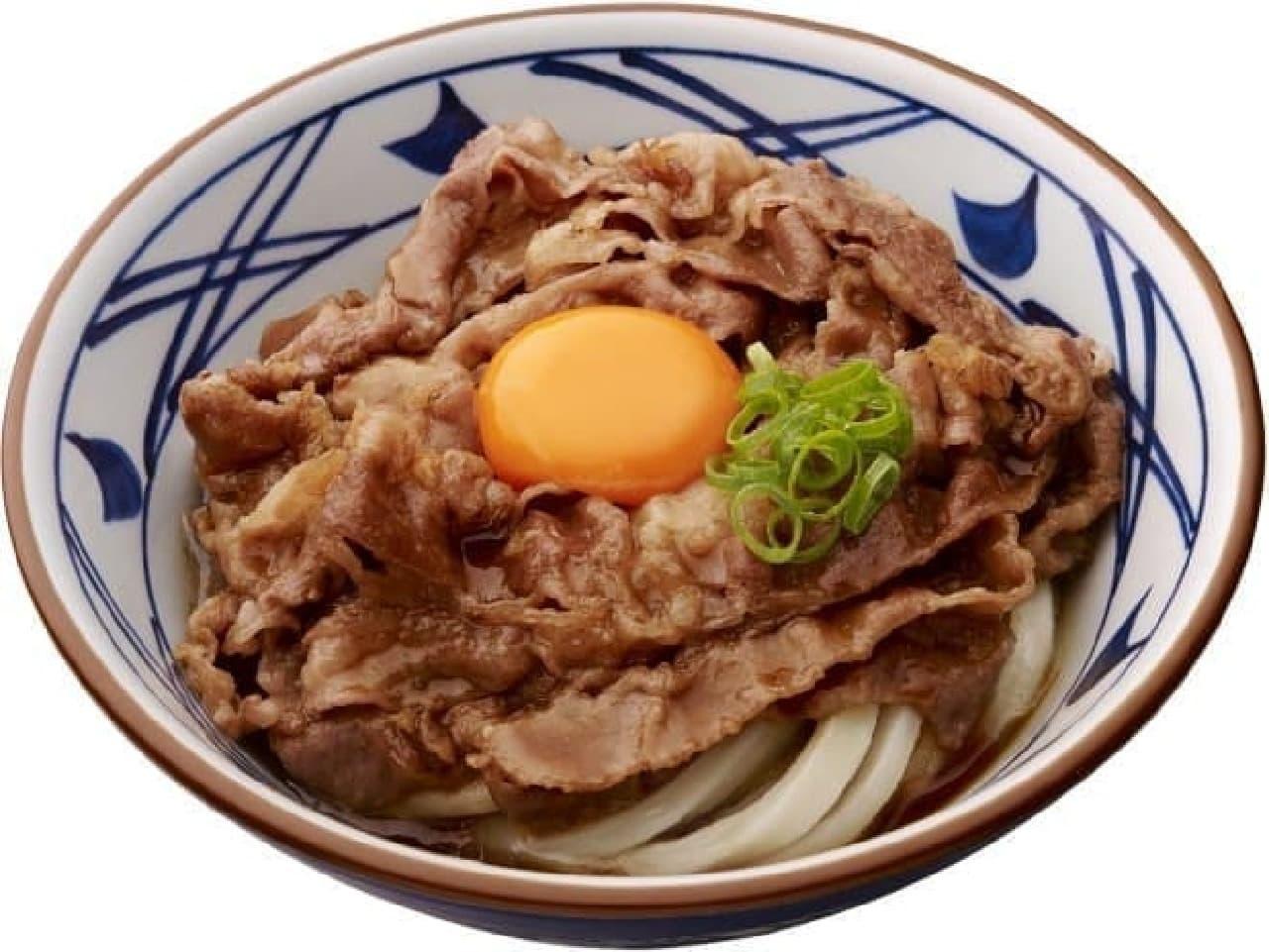 丸亀製麺「牛すき釜玉うどん」