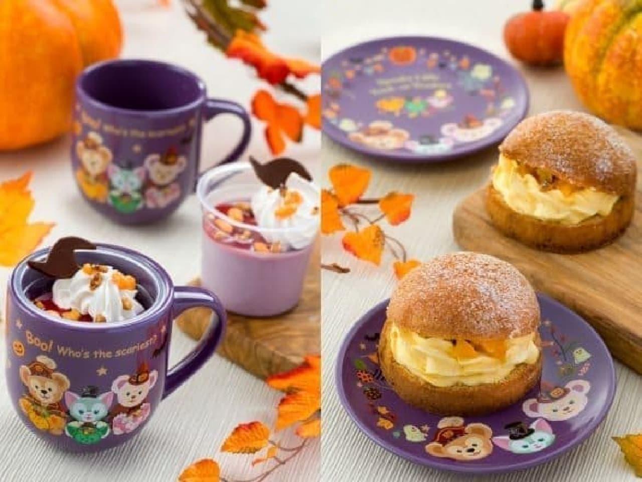 東京ディズニーシー、ハロウィン限定紫イモのムース、スーベニアカップ付き、ミルクティーパフケーキ(パンプキンクリーム)