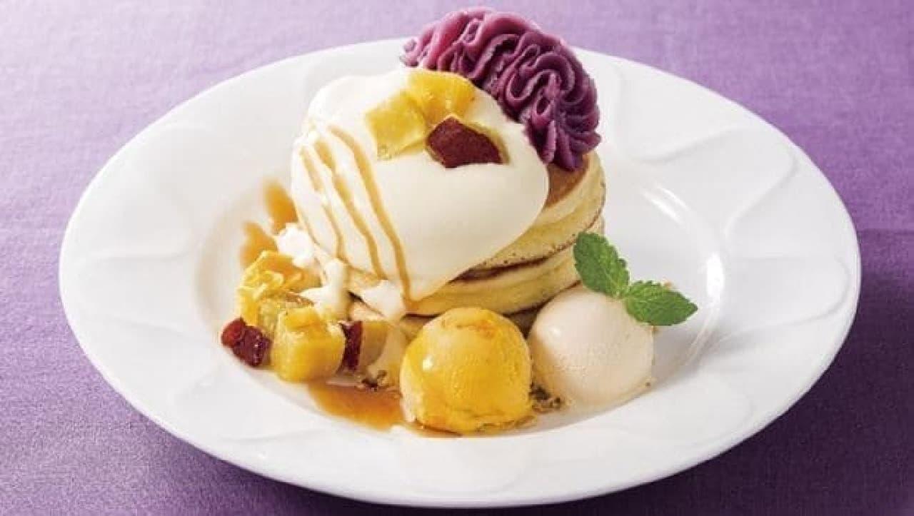 デニーズ「紫芋と黒ごまのパンケーキ~南九州産紫芋使用」
