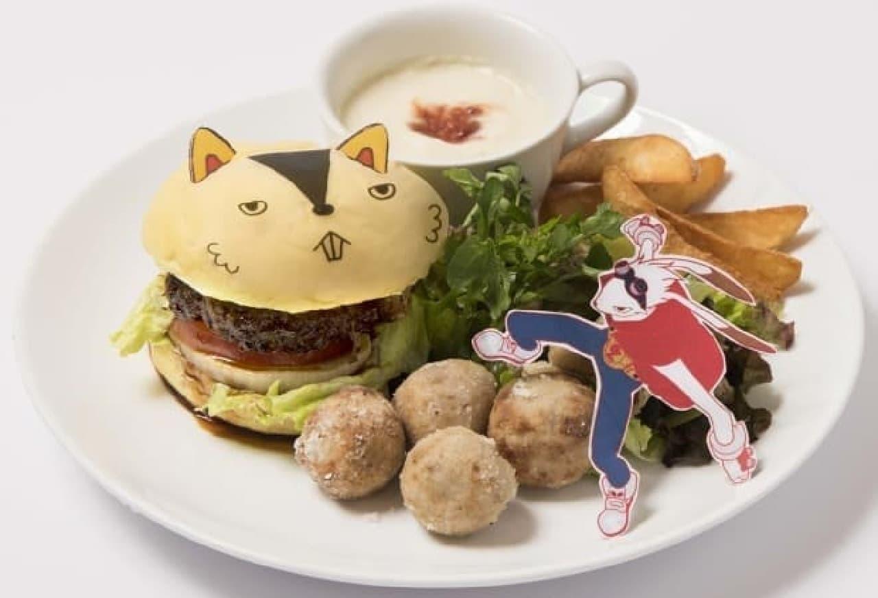 時をかける少女カフェ「肉汁たっぷり!ボリューム満点!仮ケンジとキング・カズマのバーガープレート 陣内家のおかず添え」