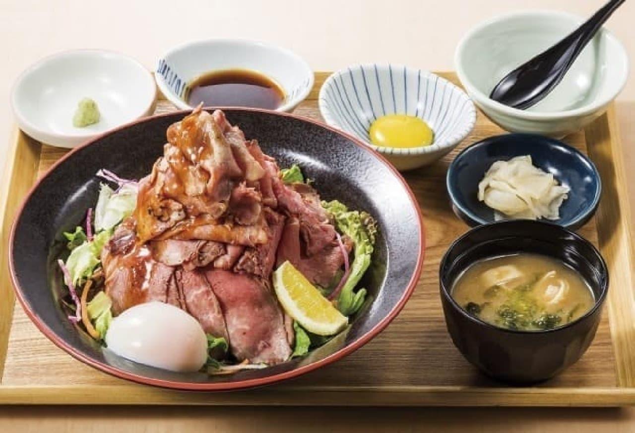 夢庵「特盛り炙りローストビーフ丼膳」
