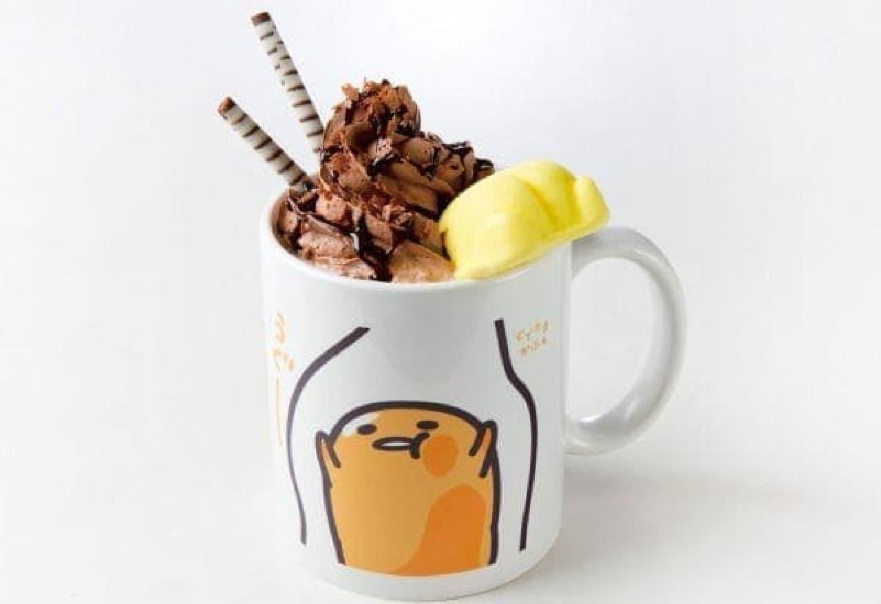 ぐでたまカフェ 池袋店「プリケツマシュマロ付き!あったか~ぐでらて(ショコらて)」