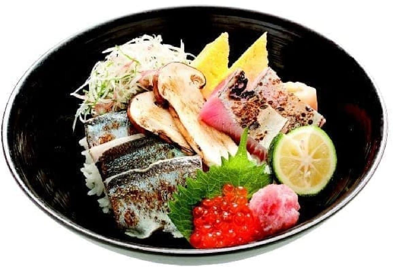 築地寿司清「松茸と香味野菜の炙り秋刀魚丼」