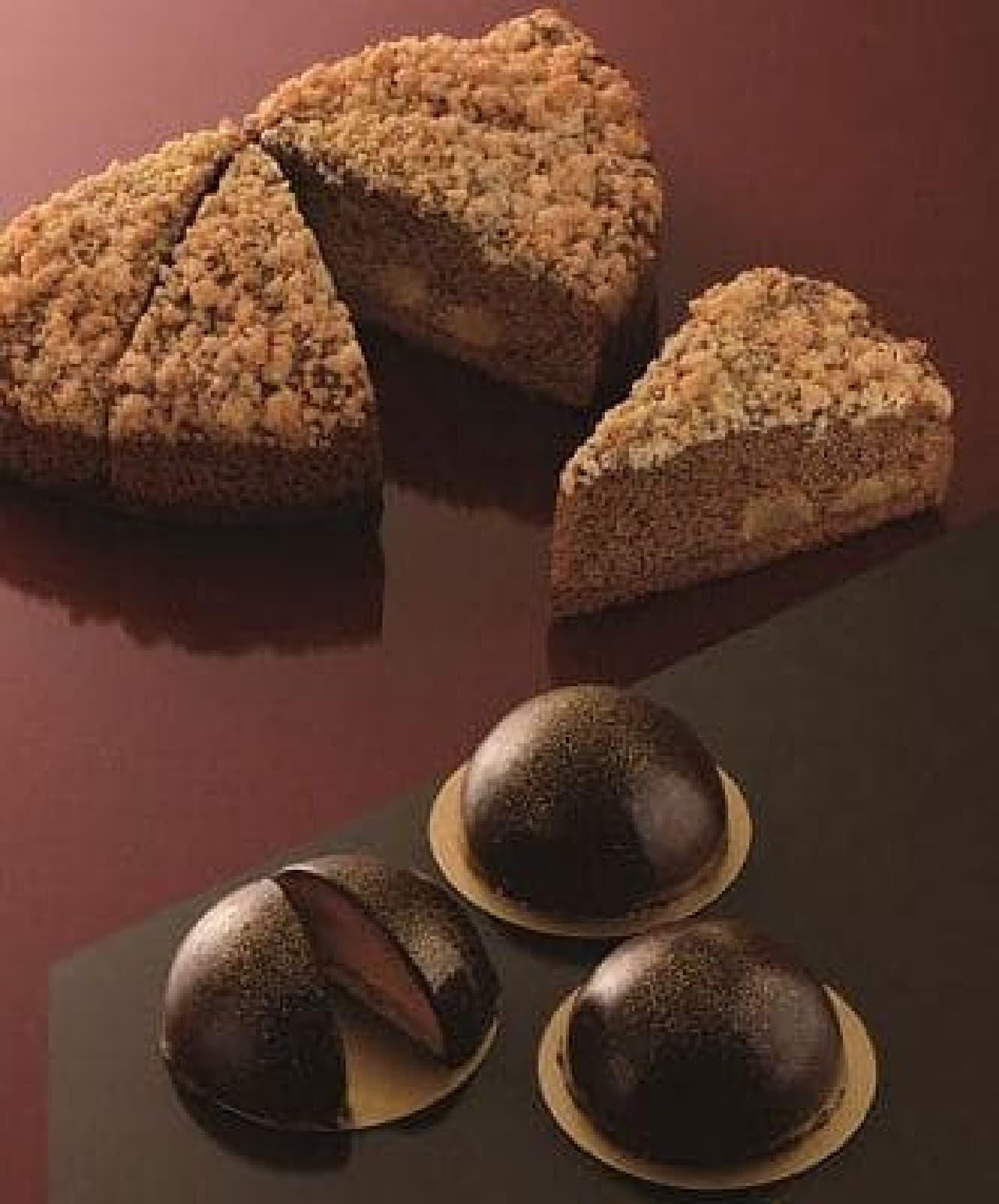 カフェ・ド・クリエ「チョコドームケーキ」と「りんごとシナモンのクランブルケーキ」