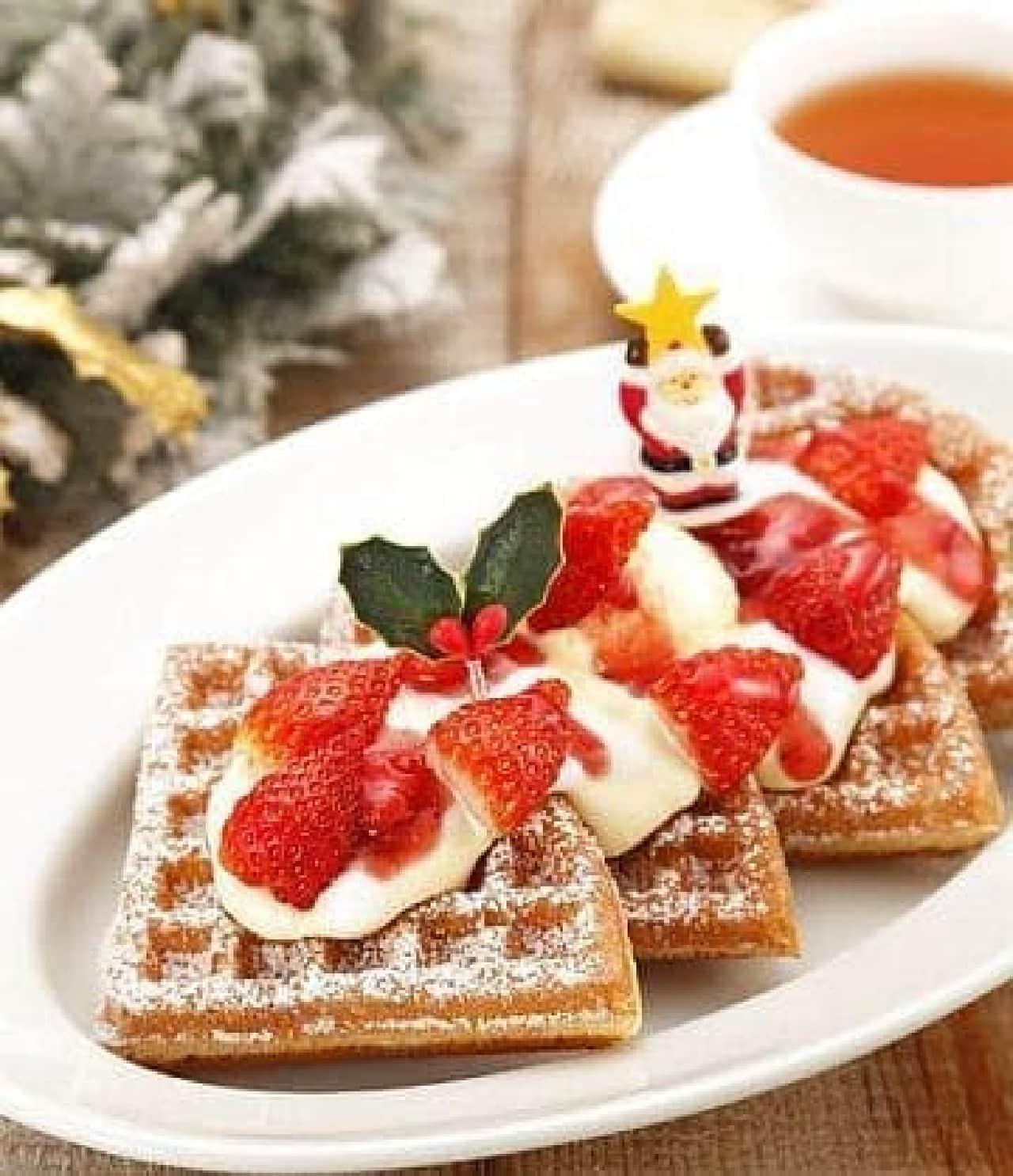 マザーリーフ「いちごとマスカルポーネチーズクリームのクリスマスワッフル」