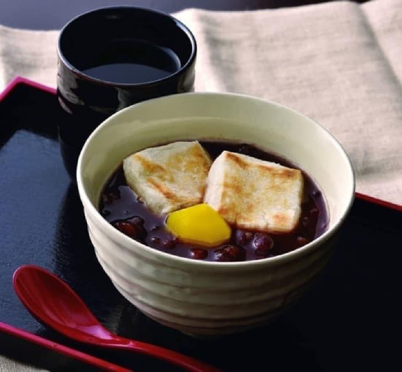 シャノアール「焼き餅入りぜんざい(ほうじ茶付き)」