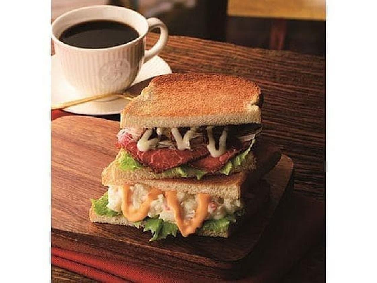 カフェ・ド・クリエ「2つのサンド ローストビーフとチーズポテト」