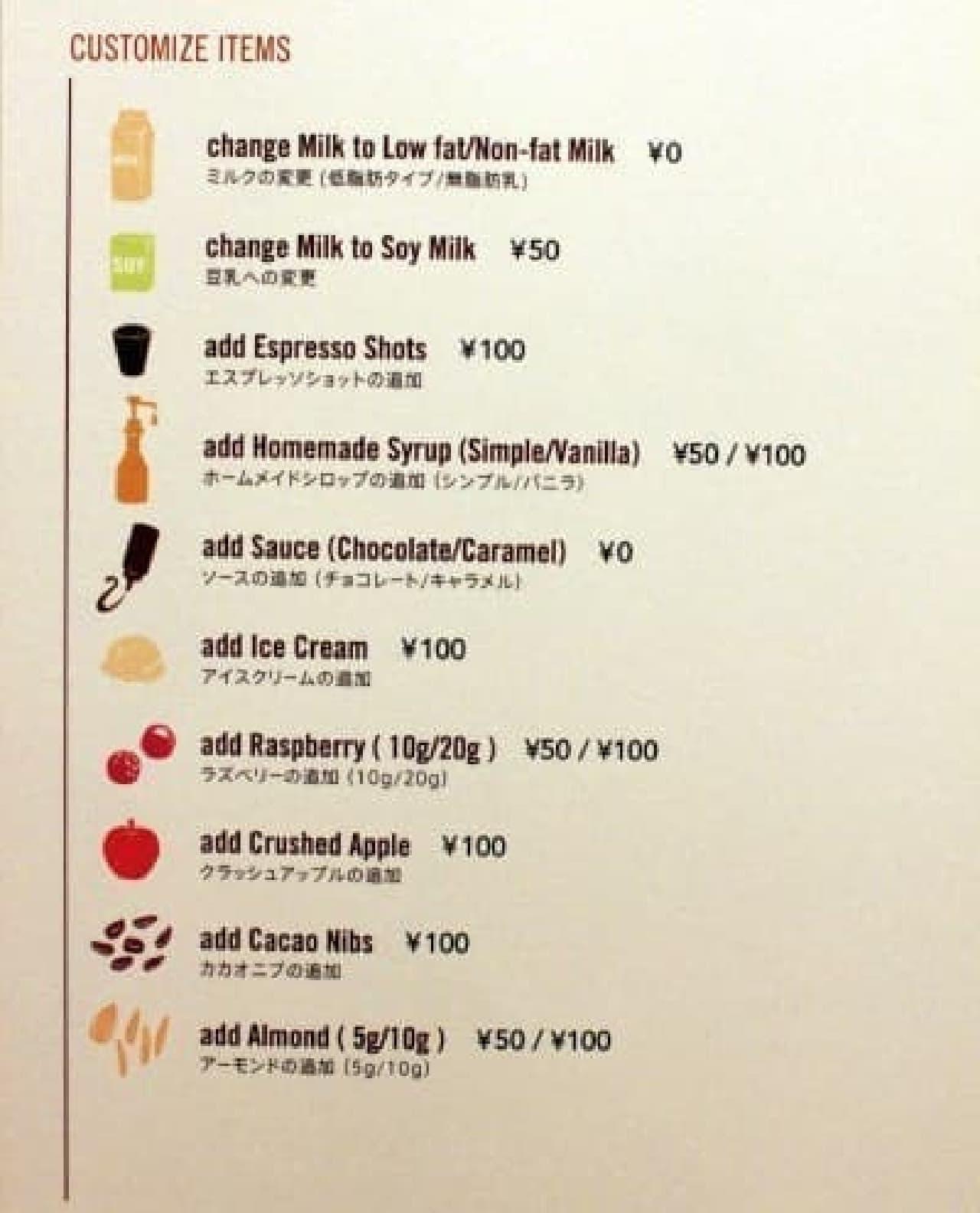 スターバックス ネイバーフッドアンドコーヒー カスタマイズ一覧