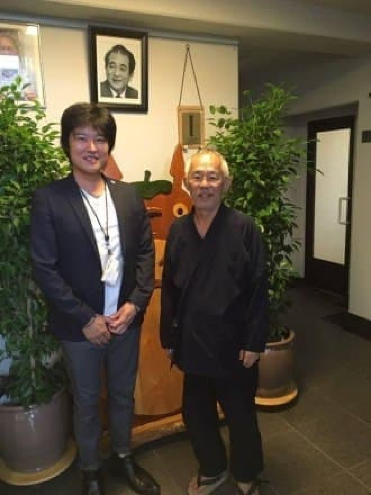 スタジオジブリにて、吉村常務と鈴木プロデューサー