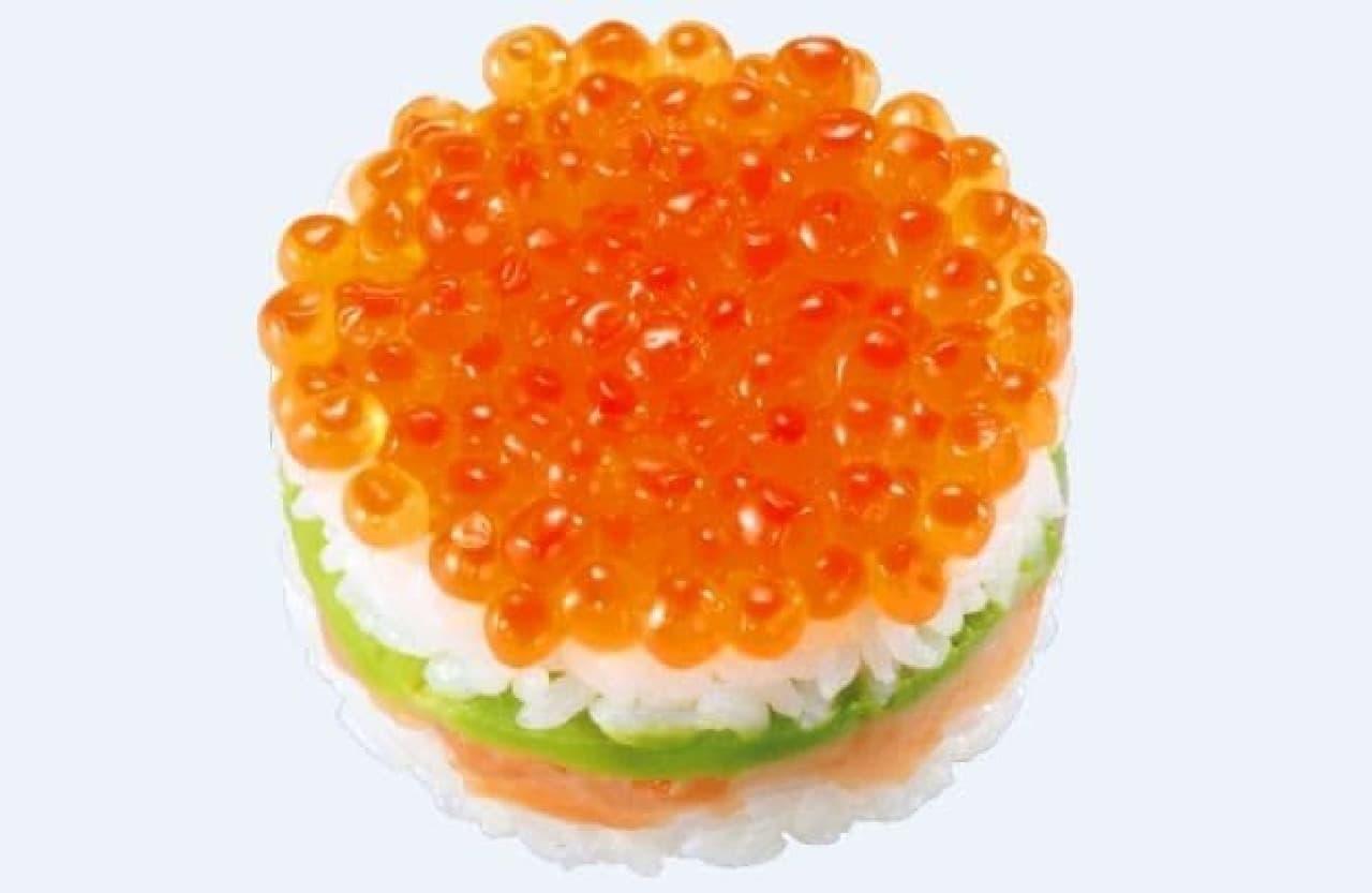 かっぱ寿司「鮮極鮭いくらの4色SUSHIケーキ」